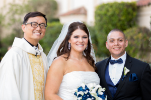 Bride & Groom Formal Wedding Photo at Saint Cecilia Catolic Church in San Francisco, CA